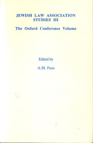 Image for JEWISH LAW ASSOCIATION STUDIES III THE OXFORD CONFERENCE VOLUME