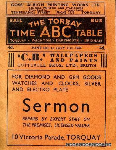 Image for THE TORBAY RAIL & BUS ABC TIME TABLE  June 16th to July 31st 1947