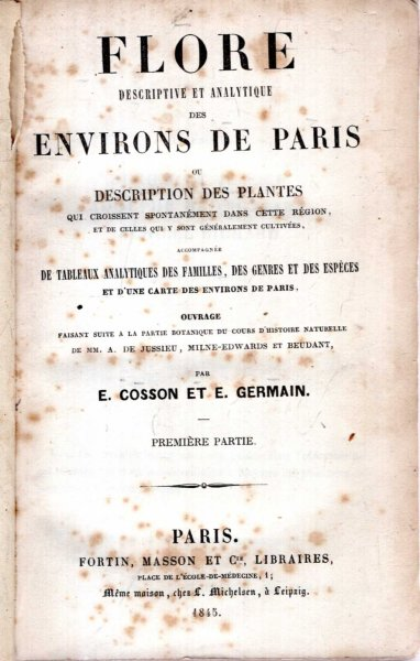 Image for FLORE DESCRIPTIVE ET ANALYTIQUE DES ENVIRONS DE PARIS ou Description des Plantes