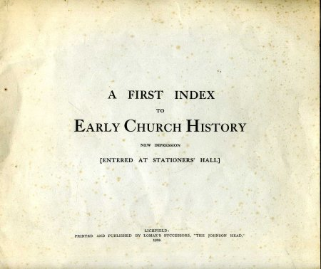 Image for A First Index to Early Church History