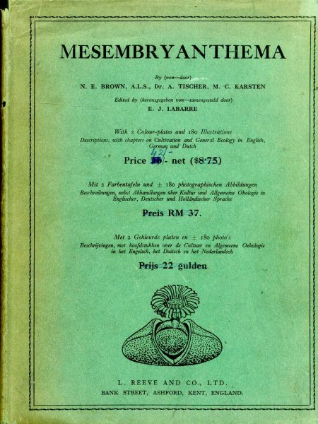 Image for MESEMBRYANTHEMA Descriptions, with chapters on cultivation and general ecology