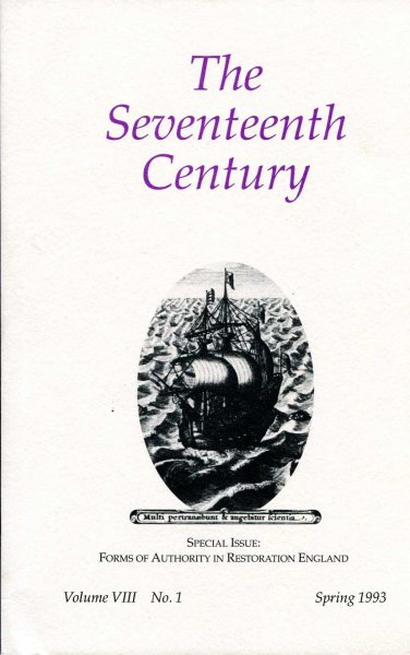 Image for The Seventeenth Century, volume VIII No 1, Spring 1993 : Special Issue: Forms of Authority in Restoration England