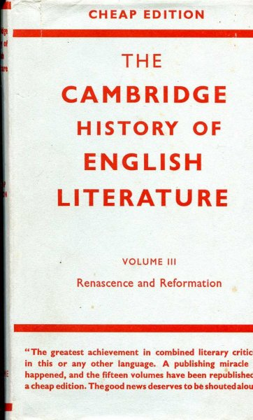 Image for The Cambridge History of English Literature, volume iii Renascence and Reformation