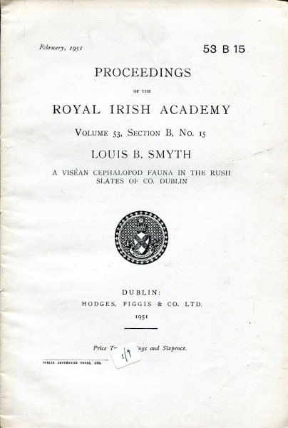 Image for Proceedings of the Royal Irish Academy volume 53, Section B, No 15 - A Visean Cephalopod Fauna in the Rush Slates of Co Dublin