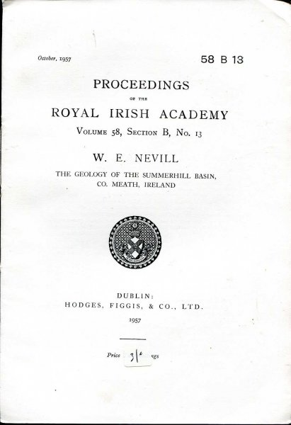 Image for Proceedings of the Royal Irish Academy volume 58, Section B, No 13 - The Geology of the Summerhill Basin, Co Meath, Ireland