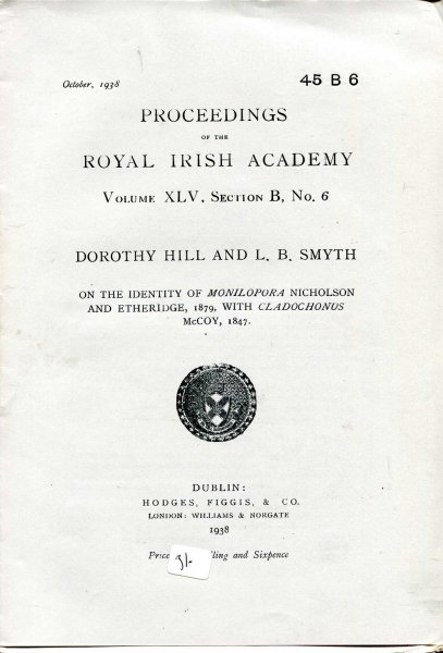 Image for Proceedings of the Royal Irish Academy volume XLV, Section B, No 6 - On the identity of Monilopora Nicholson and Ethelridge, 1879, with Cladochonus McCoy, 1847