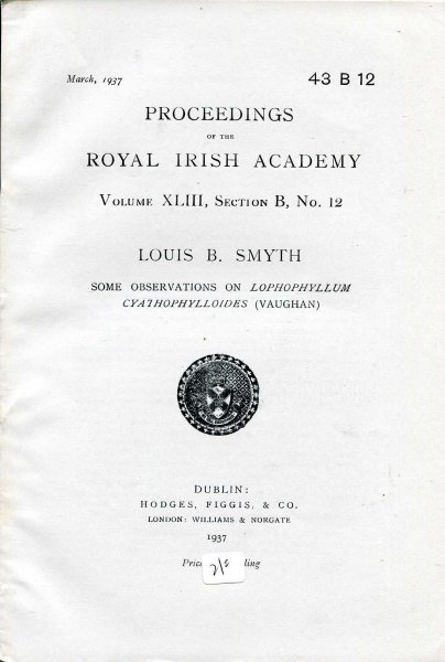 Image for Proceedings of the Royal Irish Academy volume XLIII, Section B, No 12 - Some Observations on Lophophyllum Cyathophylloides (Vaughn)