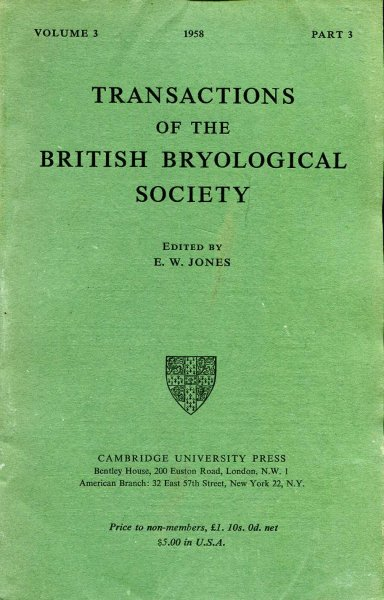 Image for Transactions of the British Bryological Society 1958 volume 3, Part 3