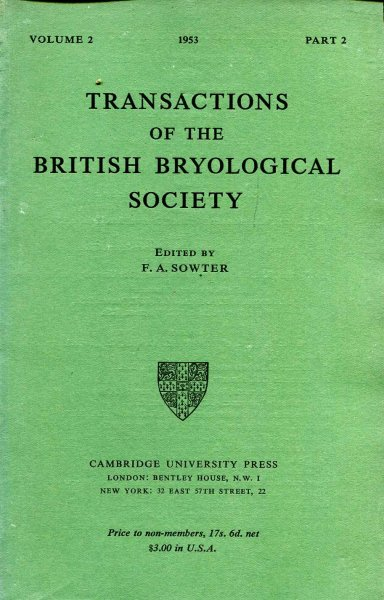 Image for Transactions of the British Bryological Society 1953 volume 2, Part 2