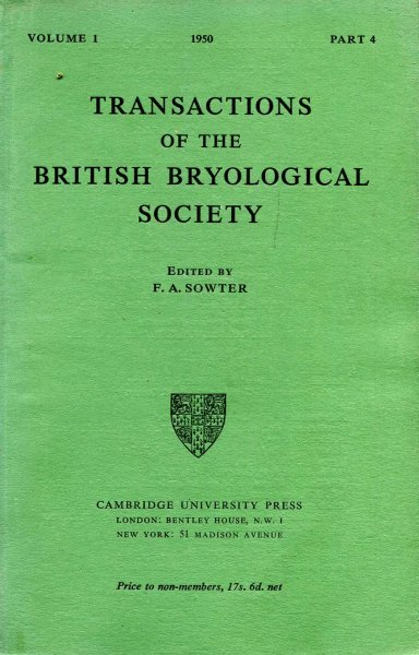 Image for Transactions of the British Bryological Society 1950 volume 1, Part 4