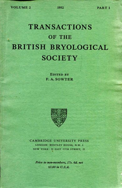 Image for Transactions of the British Bryological Society 1952 volume 2, Part 1