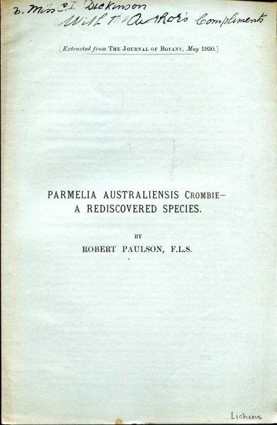 Image for Parmelia Australiensis Crombie - a rediscovered species [extracted from The Journal of Botany, May, 1930