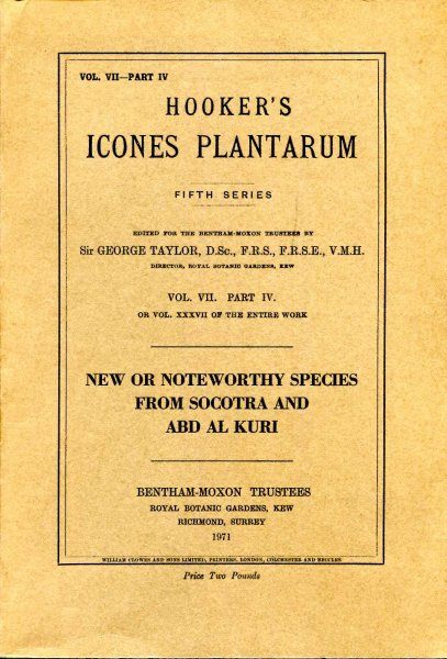Image for Hooker's Icones Plantarum Fifth series Vol VII Part IV or vol XXXVII of the entire work : New or Noteworthy Species From Socotra and Abd Al Kuri