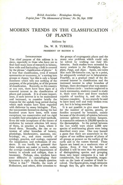 Image for Modern trends in the Classification of Plants (pre-print from 'The Advancement of Science')