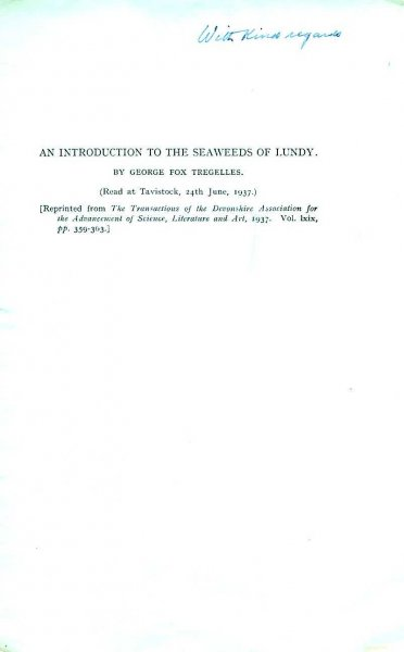 Image for An Introduction to the Seaweeds of Lundy [reprinted from The Transactions of the Devonshire Association for the Advancement of Science, Literature & Art)