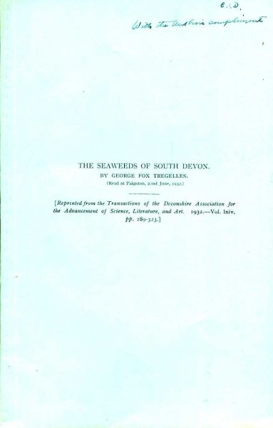 Image for An Introduction to the Seaweeds of South Devon [reprinted from The Transactions of the Devonshire Association for the Advancement of Science, Literature & Art)