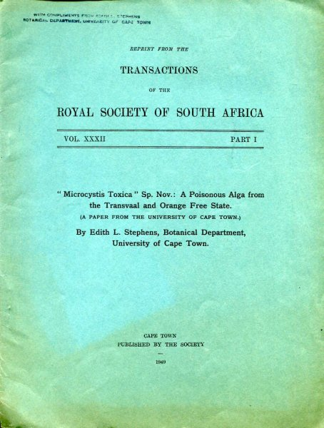 "Image for ""Microcystis Toxica"" Sp. Nov. : A Poisonous Alga from the Transvaal and Orange Free State [reprint from the Transactions of the Royal Society of South Africa]"