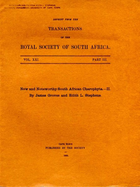 Image for New and Noteworthy South African Charophyta - II [reprint from the Transactions of the Royal Society of South Africa]