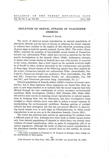Image for Isolation of Sexual Strains of Placoderm Desmids [extracted from the Bulletin of the Torrey Botanical Club]