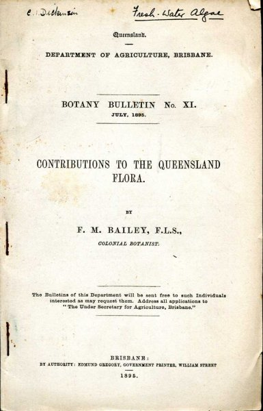 Image for Contributions to the Queensland Flora - Botany Bulletin No XI, July 1895