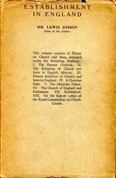 Image for Establishment in England being Essays on Church and State