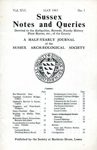 Image for Sussex Notes and Queries A half-yearly journal of The Sussex Archaeological Society volume XVI No 1 May 1963