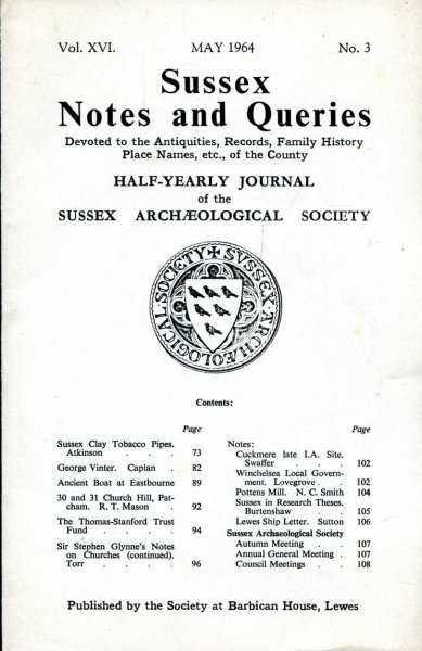 Image for Sussex Notes and Queries A half-yearly journal of The Sussex Archaeological Society volume XVI No 3 May 1964