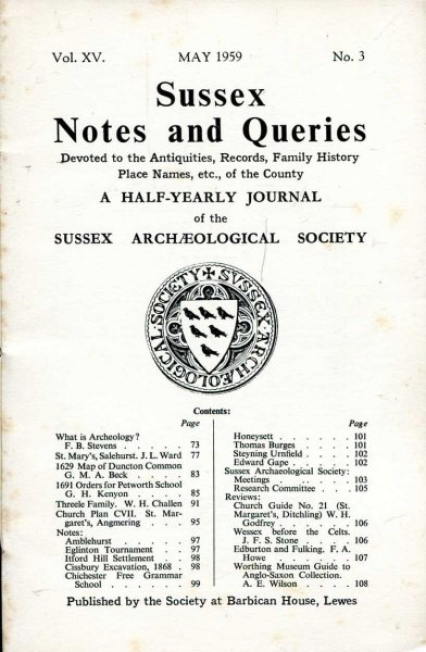 Image for Sussex Notes and Queries A half-yearly journal of The Sussex Archaeological Society volume XV No 3 May 1959