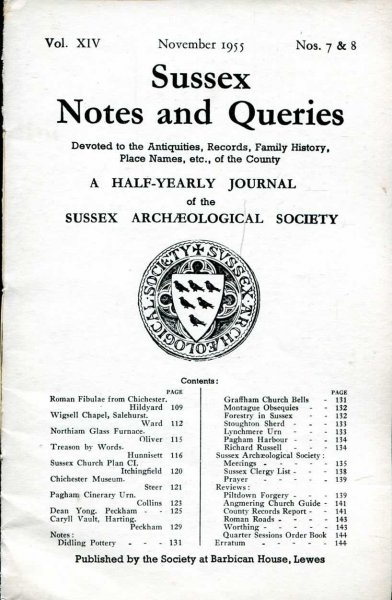 Image for Sussex Notes and Queries A half-yearly journal of The Sussex Archaeological Society volume XIV No 7 & 8 November 1955