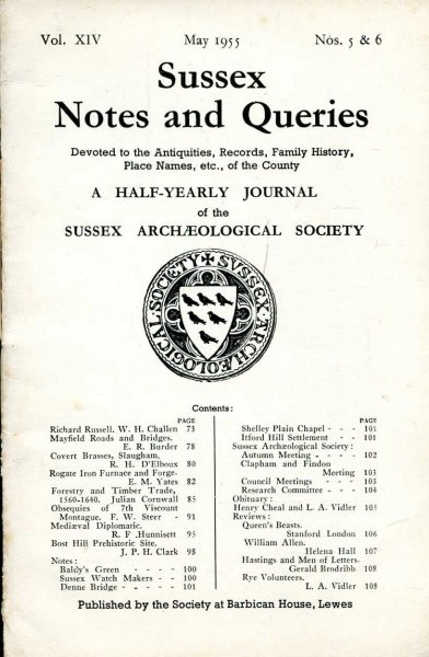 Image for Sussex Notes and Queries A half-yearly journal of The Sussex Archaeological Society volume XIV No 5 & 6 May 1955