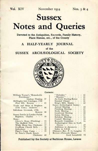 Image for Sussex Notes and Queries A half-yearly journal of The Sussex Archaeological Society volume XIV No 3 & 4 November 1954