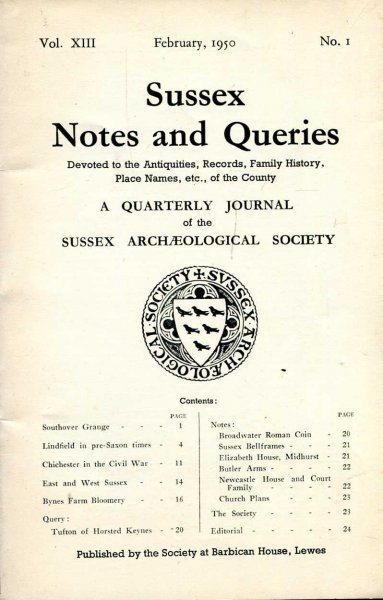 Image for Sussex Notes and Queries A quarterly journal of The Sussex Archaeological Society volume XIII No 1 February 1950