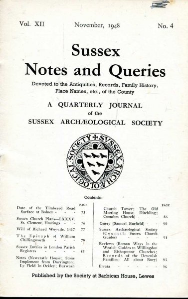Image for Sussex Notes and Queries A quarterly journal of The Sussex Archaeological Society volume XII No 4 November 1948