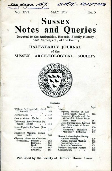 Image for Sussex Notes and Queries A half-yearly journal of The Sussex Archaeological Society volume XVI No 5 May1965