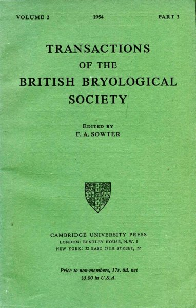 Image for Transactions of the British Bryological Society 1954 volume 2, Part 3