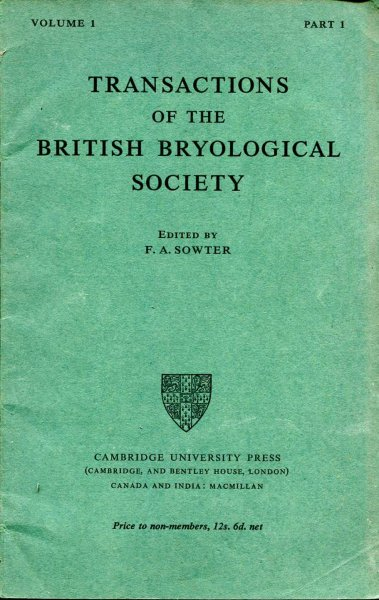 Image for Transactions of the British Bryological Society 1947 volume 1, Part 1