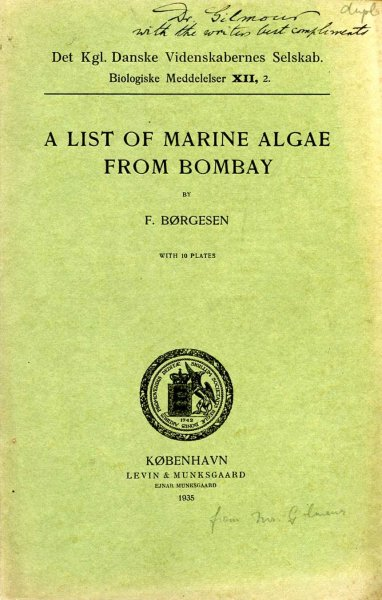 Image for A List of Marine Algae from Bombay (reprinted from the Biologiske Meddelesler XII, 2)