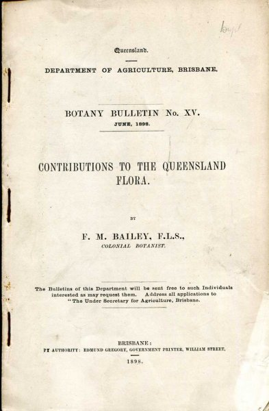 Image for Contributions to the Queensland Flora - Botany Bulletin No XV, June 1898