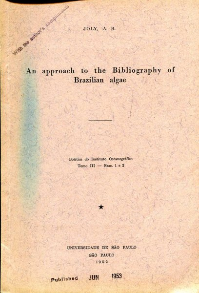 Image for An Approach to the Bibliography of Brazilian Algae