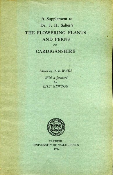 Image for A Supplement to Dr J H Salter's The Flowering Plants and Ferns of Cardinganshire