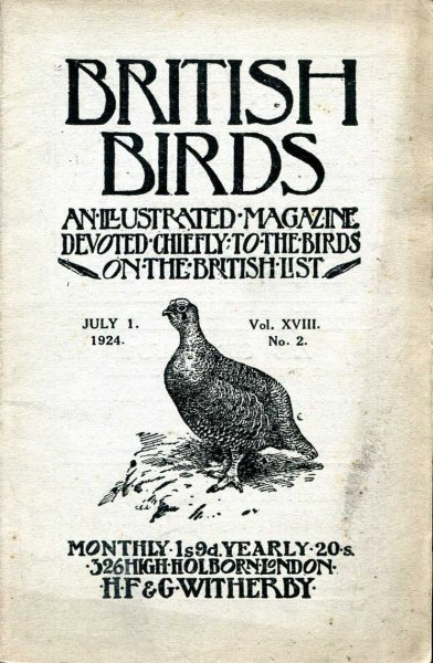 Image for British Birds An Illustrated Magazine devoted chiefly to the birds on the British List, volume XVIII , No 2, July 1, 1924