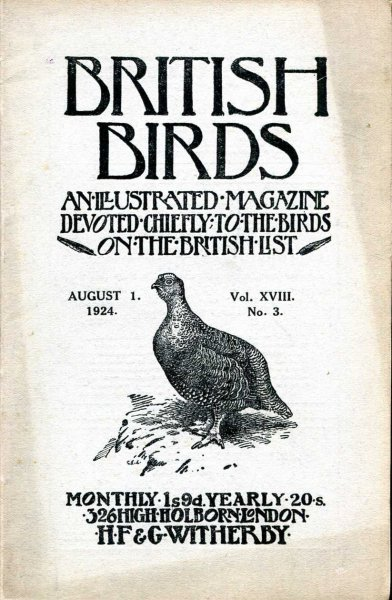 Image for British Birds An Illustrated Magazine devoted chiefly to the birds on the British List, volume XVIII , No 3, August 1, 1924