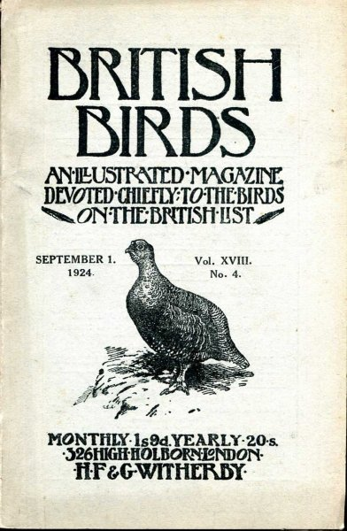 Image for British Birds An Illustrated Magazine devoted chiefly to the birds on the British List, volume XVIII , No 4, September1, 1924