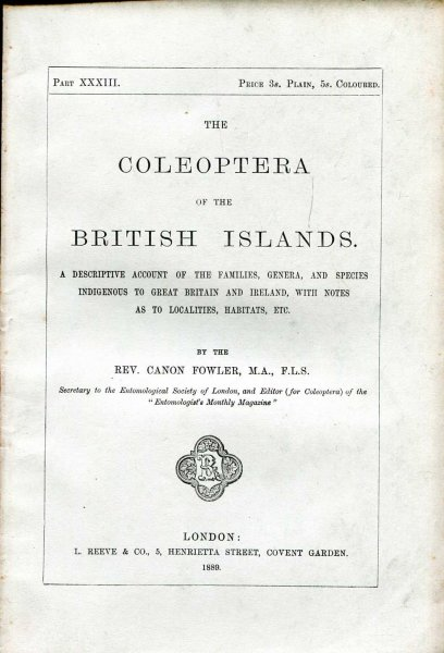 Image for The Coleoptera of the British Islands, a descriptive account of the families, genera, and species indigenous to Great Britain and Ireland, Part XXXIII