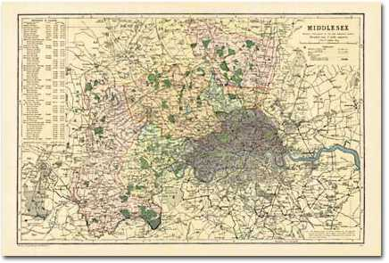 Image for Middlesex (1900) : Cassini Historical Map, Rolled (BCO-MID)
