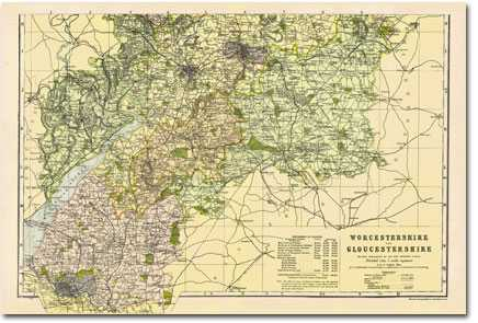 Image for Worcestershire & Gloucestershire - South (1900): Cassini Historical Map, Rolled (BCO-WGS)