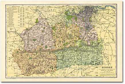 Image for Surrey (1900): Cassini Historical Map, Rolled (BCO-SUR)