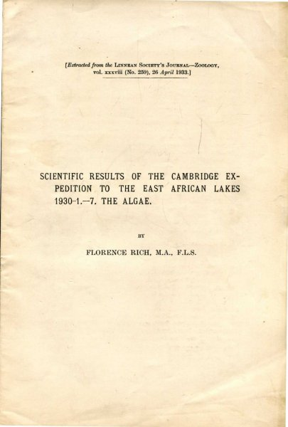 Image for Scientific Results of the Cambridge Expedition to the East African Lakes 1930 -1 -7 . The Algae