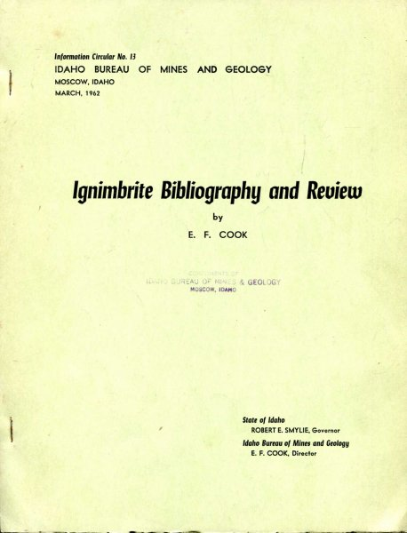 Image for Ignimbrite Bibliography and Review