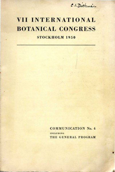 Image for VII International Botanical Congress Stockholm, 1950 Communication No 4 including The General Program